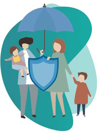 Personal Health Insurance - vector image of a couple and 2 kids