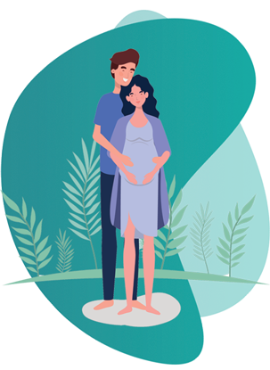 Pregnancy Insurance - vector image of a pregnant couple