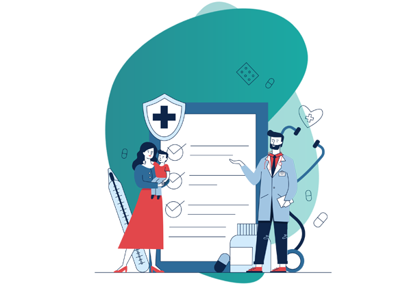 Health Insurance plans - vector image of doctor and a patient
