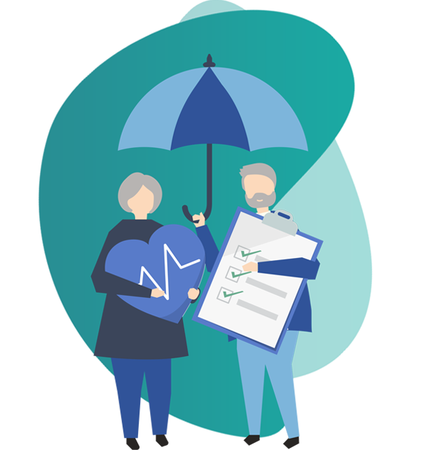 Health Insurance brokers - vector image of man and woman holding documents