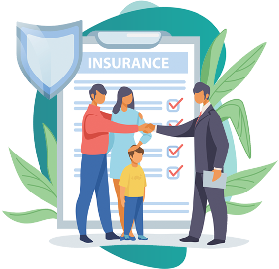 Super Top up Health Insurance plan - vector image of insurance broker, a couple and a kid