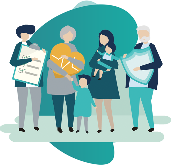 Health Insurance - vector image of 2 couples and a kid