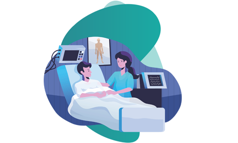 Personal Health Insurance plan - vector image of a petient and a nurse in hospital room