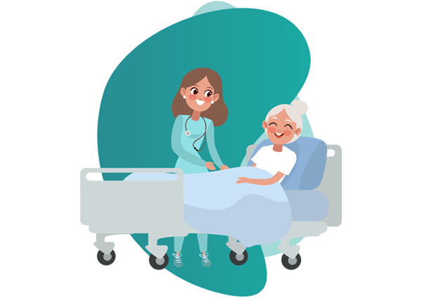 Health Insurance company - vector image of nurse and old woman
