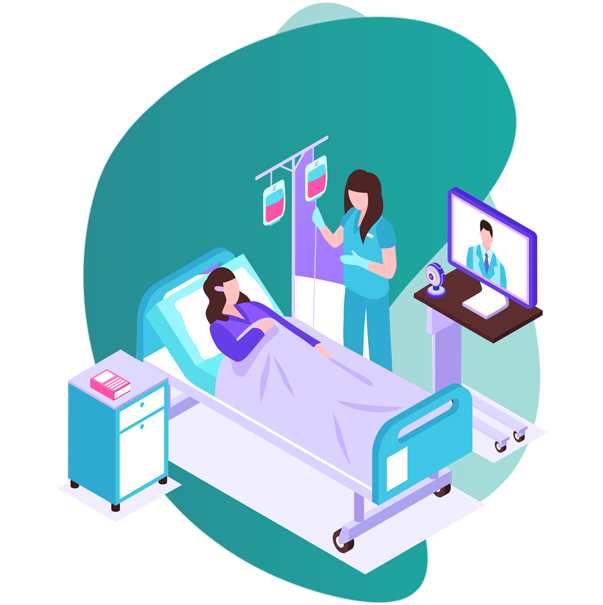 Personal Health Insurance plans - vector image of nurse and a female patient