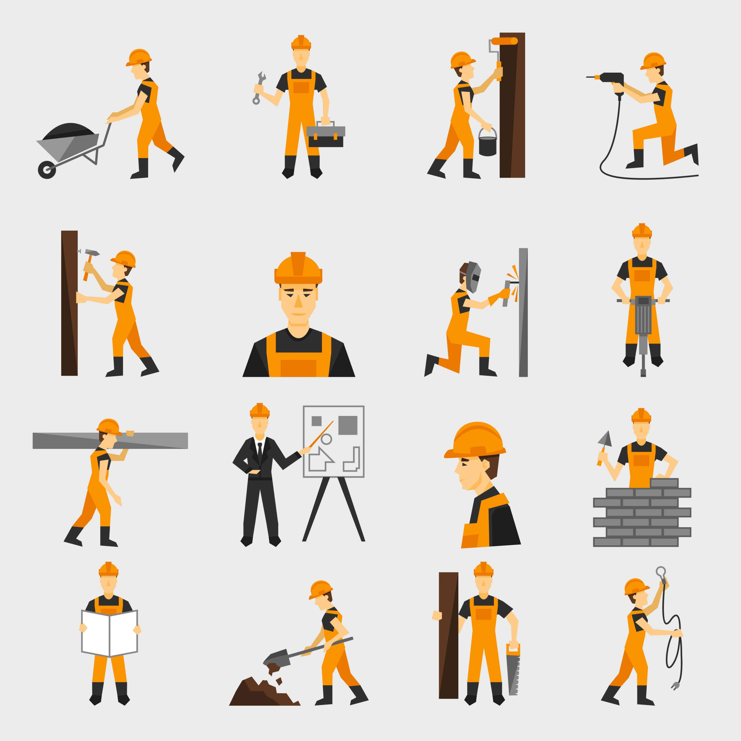 CONTRACTOR'S ALL RISKS INSURANCE policy - vector image of contractors doing different tasks