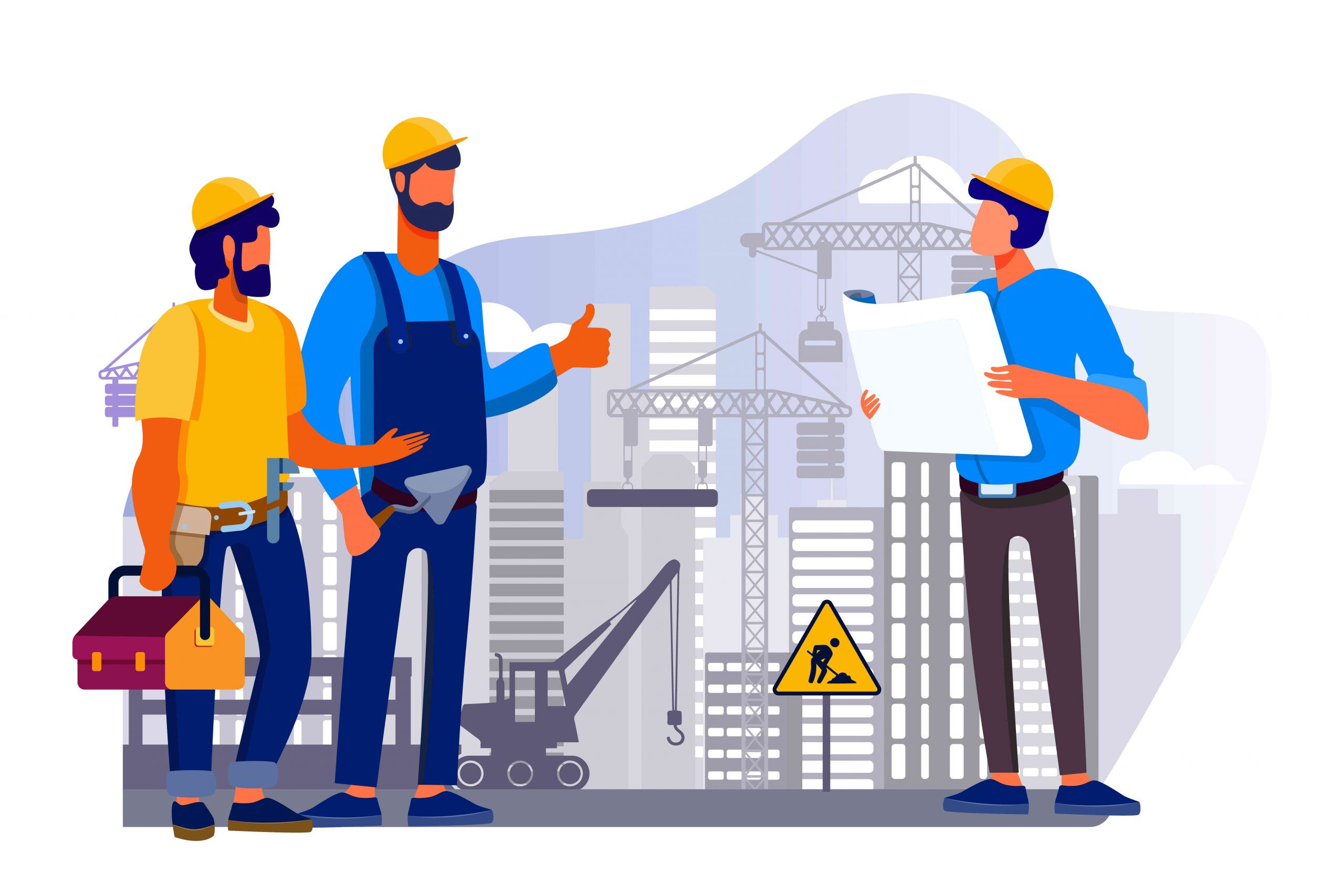 CONTRACTOR'S ALL RISKS INSURANCE - vector image of contractor and labours