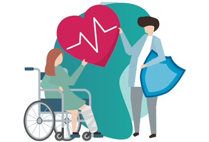 GROUP PERSONAL ACCIDENT INSURANCE  - Vector Image of 2 women, one on wheelchair and other standing