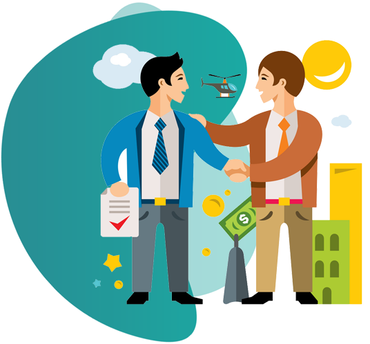 OFFICE PACKAGE INSURANCE - vector image of man encouraging other man