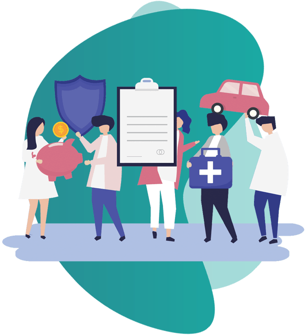 OFFICE PACKAGE INSURANCE - vector image of group of people holding medical icons