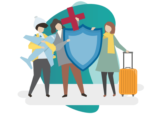 COMMERCIAL GENERAL LIABILITY policy - vector image of a man and 2 women holding icons of air plane, suitcase and label
