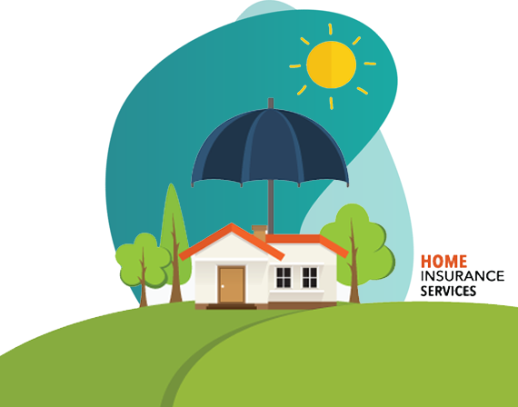 fire insurance advantages - vector image of house with caption home home insurance services