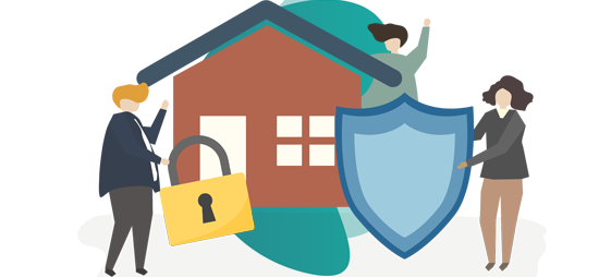 fire insurance policy conditions - vector image of house and people holding lock