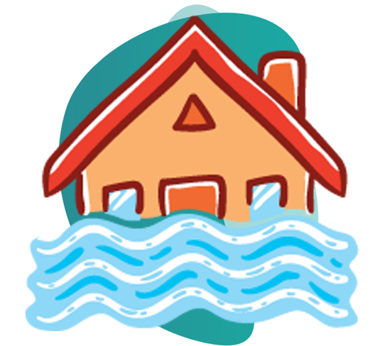 fire insurance claims - vector image of house and water overflowing infront of it