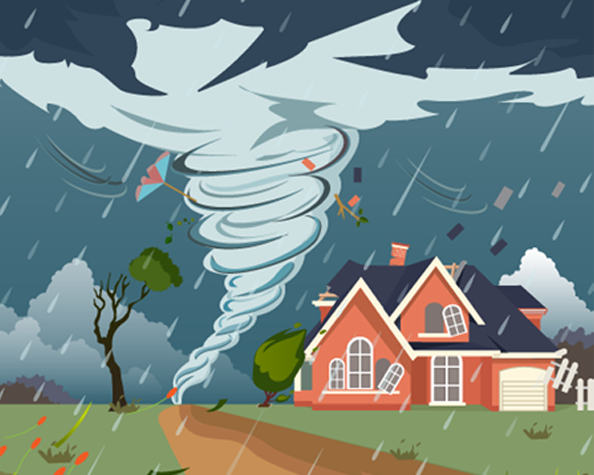 fire insurance types - vector image of house and tornado