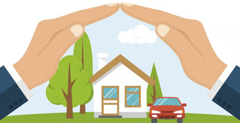 fire insurance definition- vector image of hands protecting house