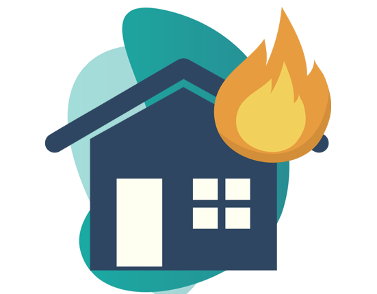 fire insurance - vector image of home and fire symbol
