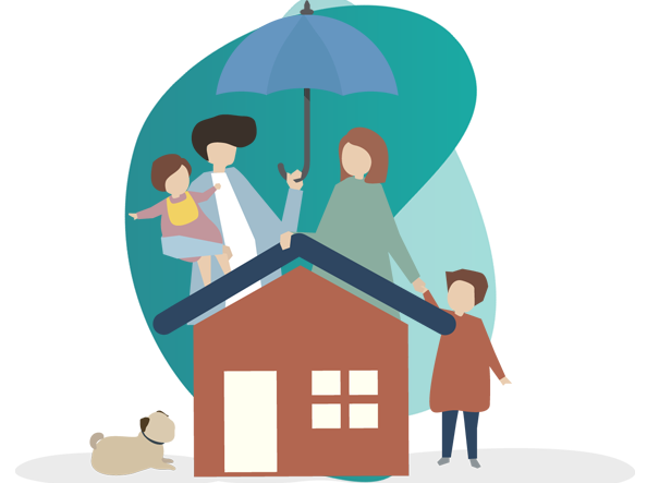 fire insurance in india - vector image of house, couple and a dog