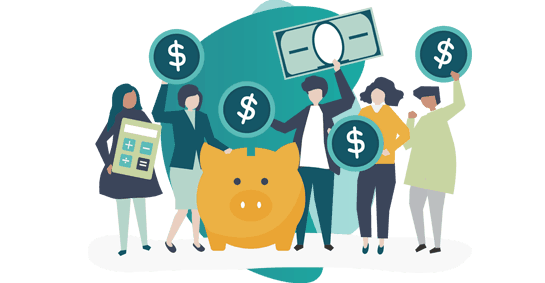 gratuity insurance policy -  vector image of 5 people holding money and dollar icons