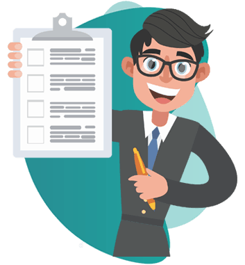 gratuity insurance -  vector image of man holding a notepad and smiling