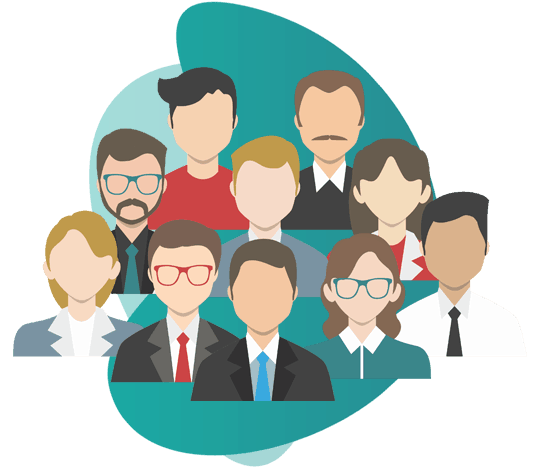 group insurance scheme -  vector image of group of people