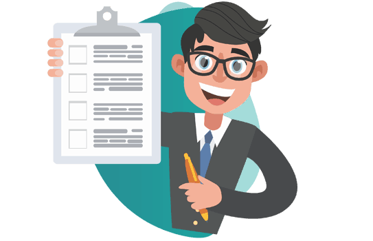 insurance broker -  vector image of man holding a notepad and smiling