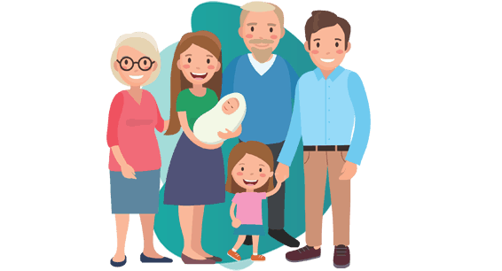 GROUP TERM LIFE INSURANCE - vector image of one old couple,one young couple with toddler and infant
