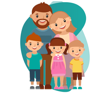 GROUP HEALTH INSURANCE - vector image of a family (parents and 3 kids)