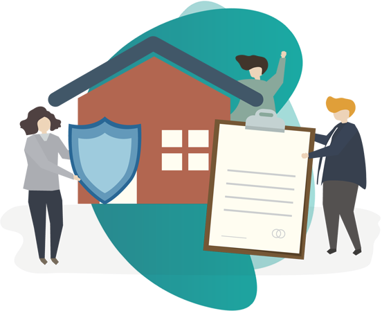 long term home insurance - vector image of house with 3 people holding icons