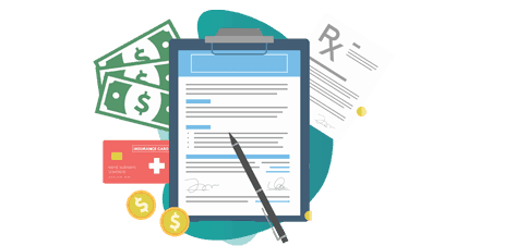 erection all risks insurance policy - vector image of notepad and dollar icons