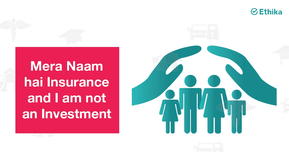 vector image of hands protecting people - Mera Naam hai Insurance and I am not an Investment