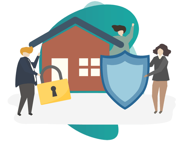 erection all risks insurance policy - vector image of house with 3 people holding icons
