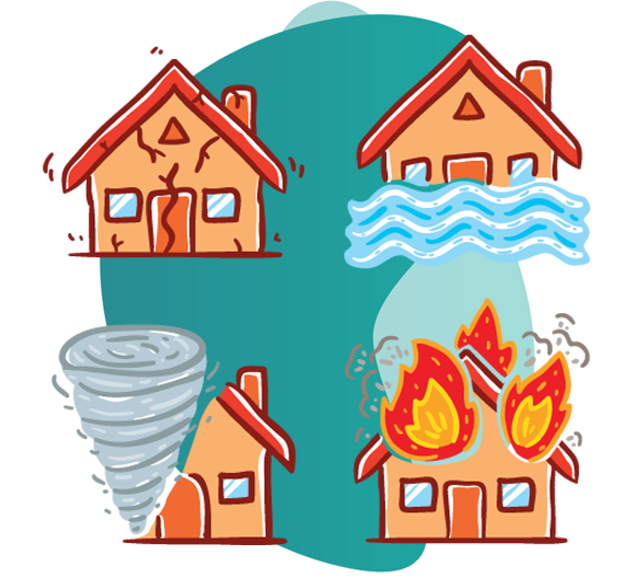 fire insurance features- vector image of house getting damaged due to water,fire ,tornado and earthquake