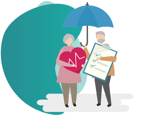 Vector Image of a man and woman holding insurance papers - accident insurance policies