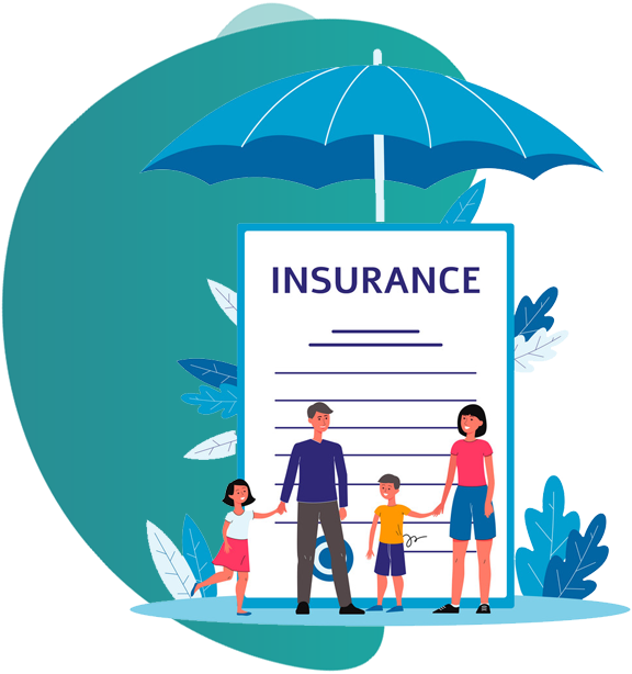 OFFICE PACKAGE INSURANCE - vector image of a couple and 2 kids with insurance document