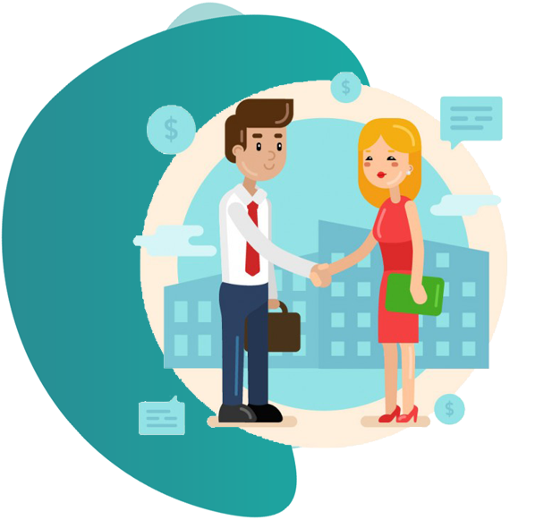professional indemnity insurance - vector image of man shaking hand with a woman