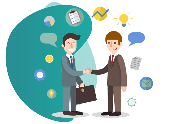 OFFICE PACKAGE INSURANCE - vector image of two men shaking hand with each other