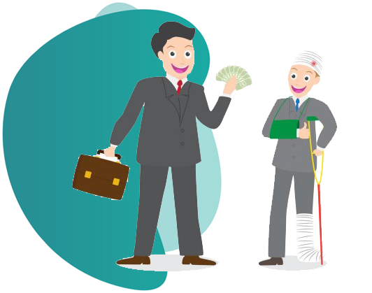 motorcycle insurance - vector image of a man showing money to other injured man