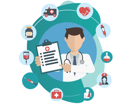 OFFICE PACKAGE INSURANCE  policy - vector image of doctor