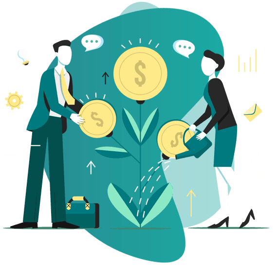 Vector Image of 2 men watering money plant - point of sales person