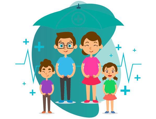 professional indemnity insurance for doctors - vector image of couple and 2 kids