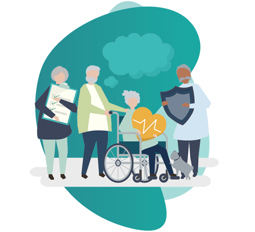 professional indemnity insurance for doctors - vector image of 3 people and 1 person on wheelchair
