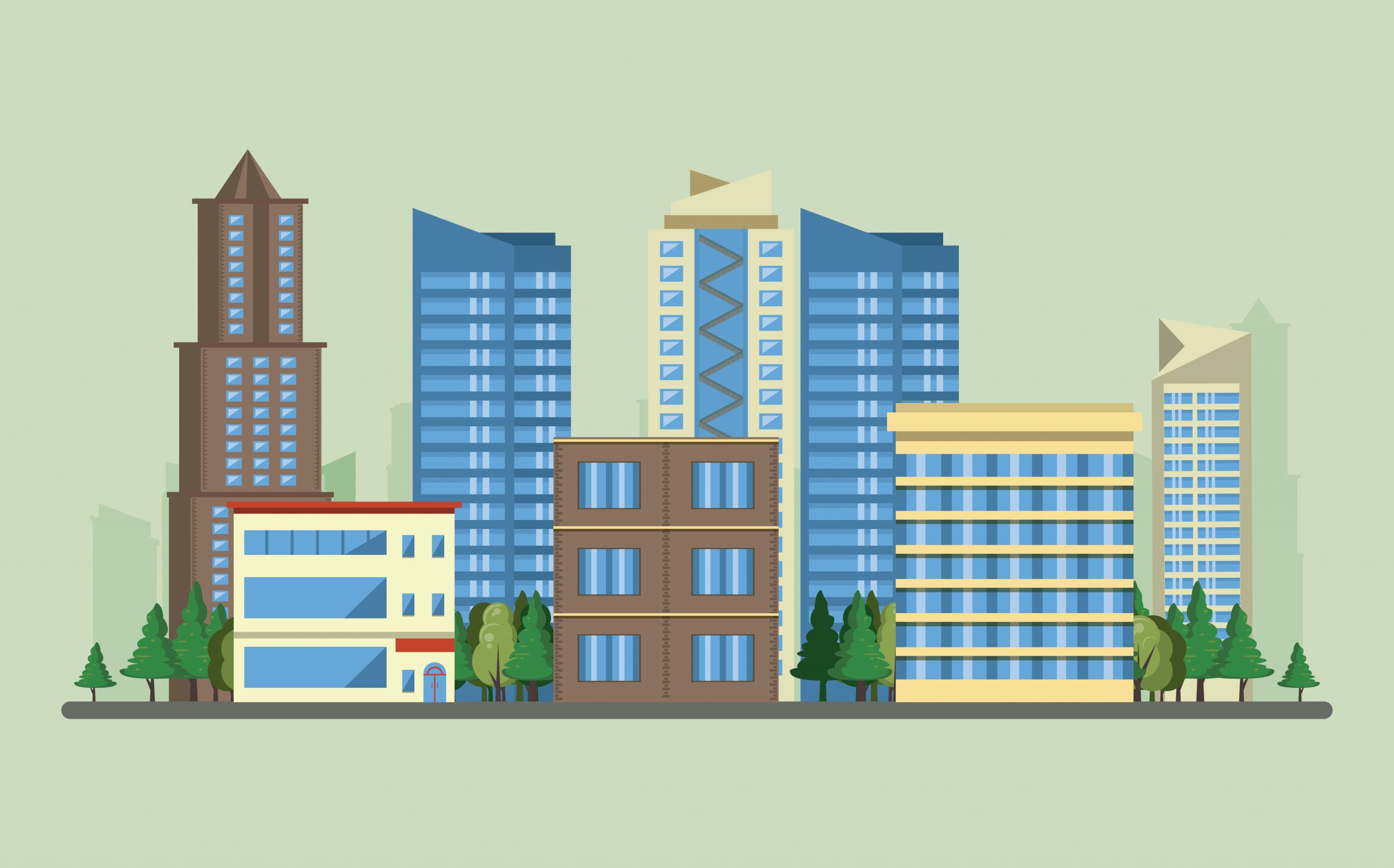 vector image of buildings - Gratuity to employees