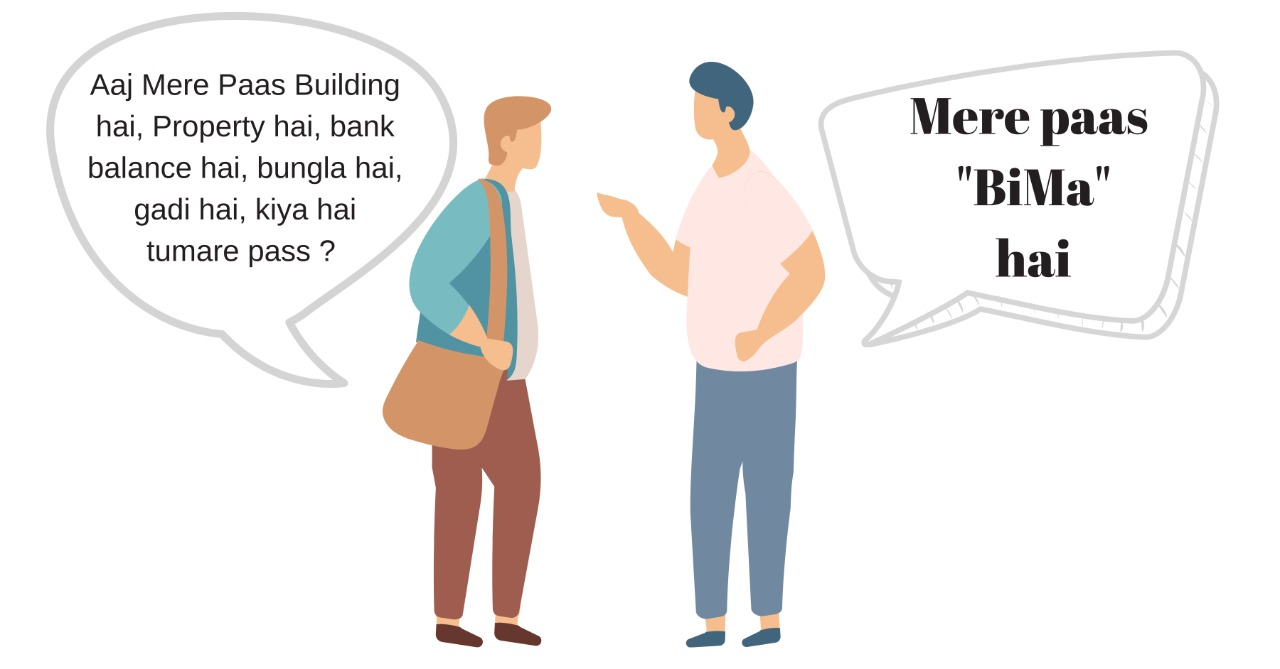 vector image of 2 men talking to each other - Insurance policy Bima