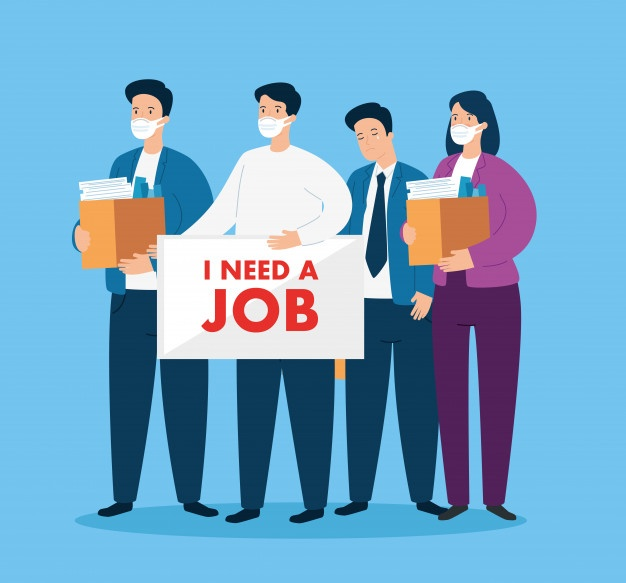 vector image of employees - covid-19 job loss