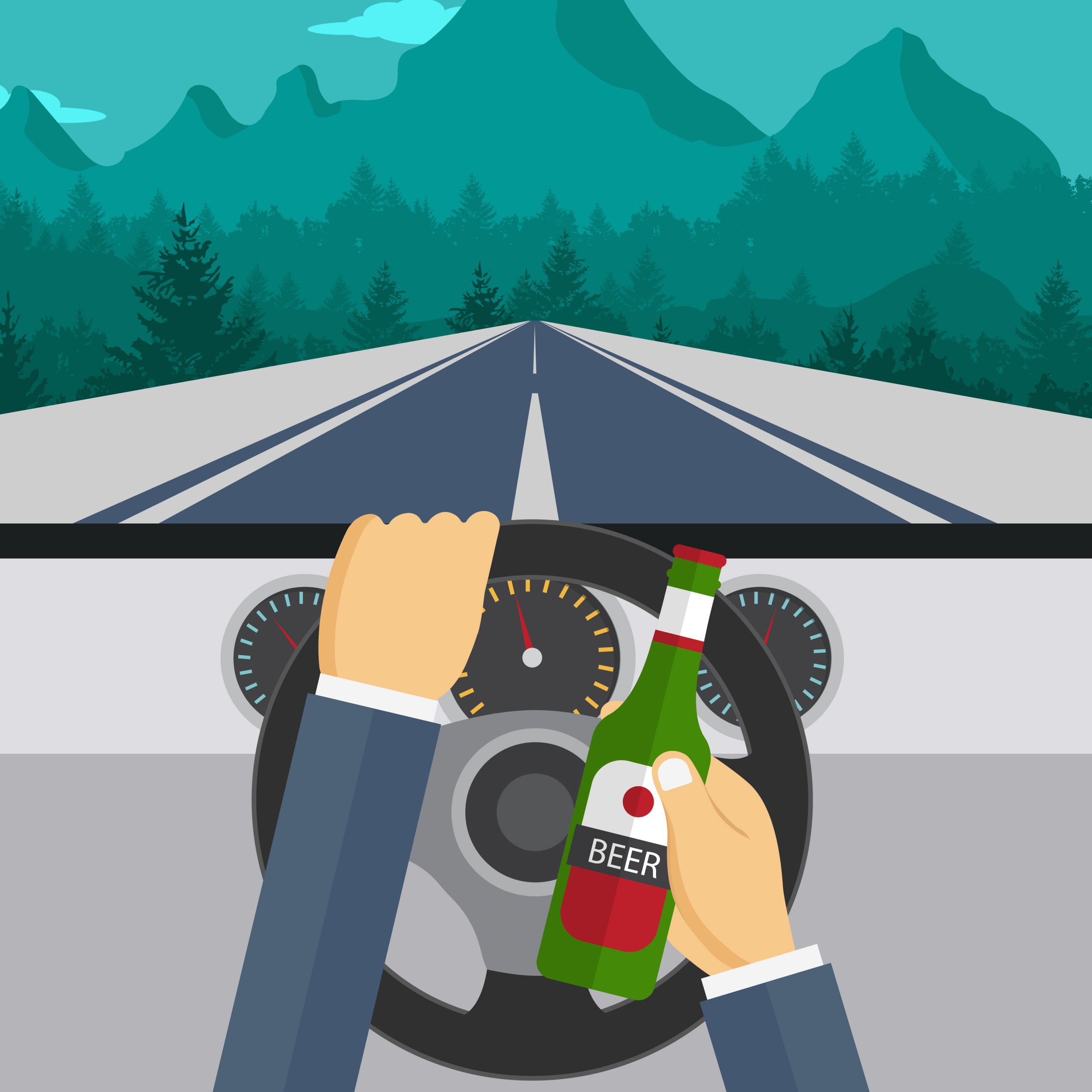 vector image of drunk and drive accidental death