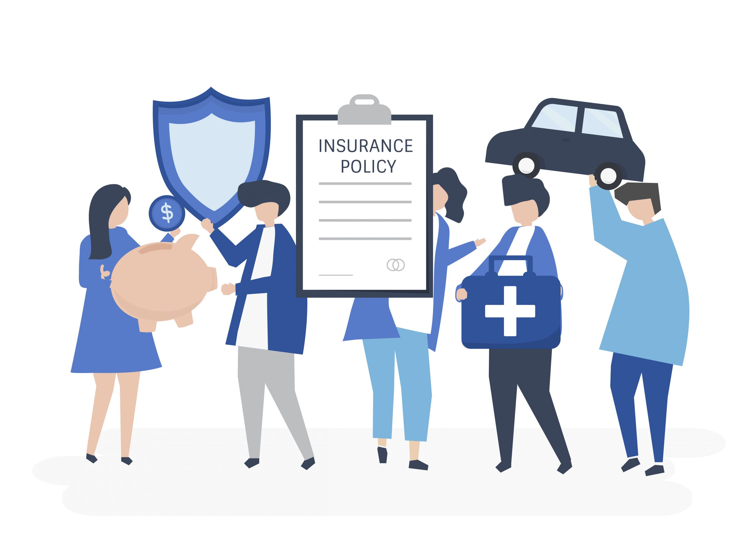 vector image of people holding insurance papers - material fact in an insurance contract