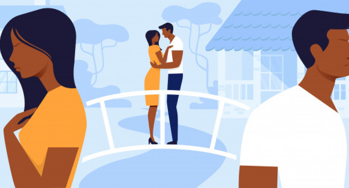 vector image of couple with distance