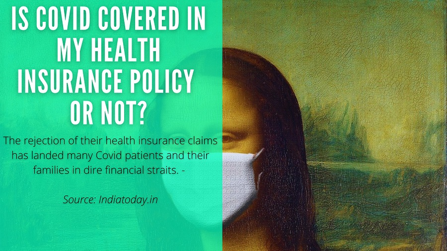 Monalisa mask photo with a health insurance question, if covid covered in health insurance policy or not.